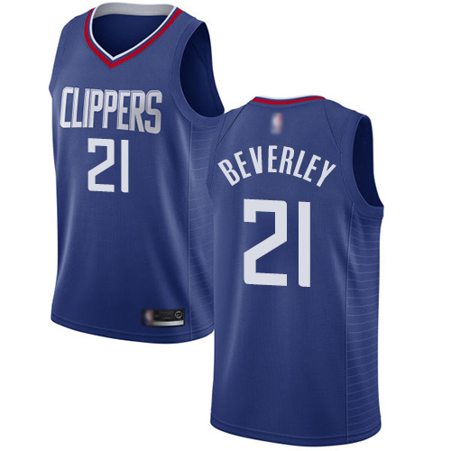 Men's Nike Los Angeles Clippers #21 Patrick Beverley Blue Basketball Swingman Icon Edition Jersey