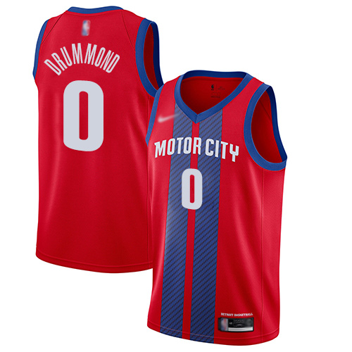 Men's Nike Detroit Pistons #0 Andre Drummond Red Basketball Swingman City Edition 201920 Jersey