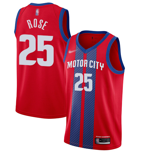 Men's Nike Detroit Pistons #25 Derrick Rose Red Basketball Swingman City Edition 2019 20 Jersey