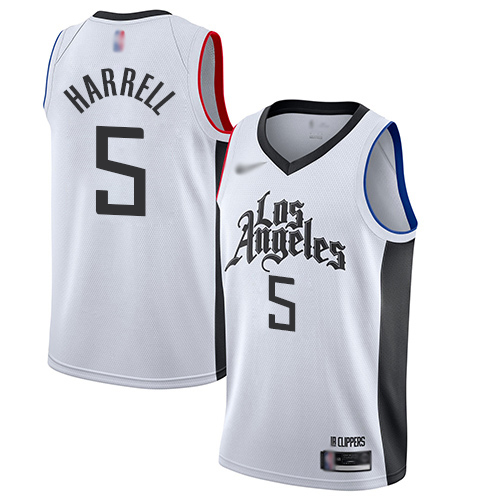 Men's Nike Los Angeles Clippers #5 Montrezl Harrell White Basketball Swingman City Edition 2019 20 Jersey