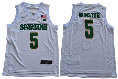 Michigan State Spartans #5 Cassius Winston White 2019 Basketball Stitched NCAA Jersey