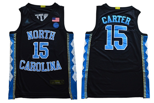 North Carolina #15 Vince Carter Black Basketball Stitched NCAA Jersey