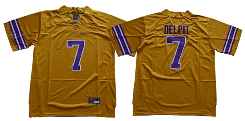 LSU Tigers #7 Grant Delpit Gridiron Gold Limited Legend Stitched NCAA Jersey