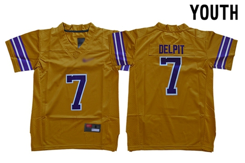 Youth Detroit Tigers #7 Grant Delpit Gridiron Gold Limited Legend Stitched NCAA Jersey