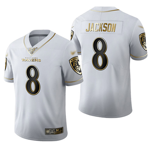 Men's Baltimore Ravens #8 Lamar Jackson White Stitched Limited Golden Edition Jersey
