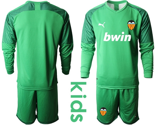valencia Blank Green Goalkeeper Long Sleeves Kid Soccer Club Jersey