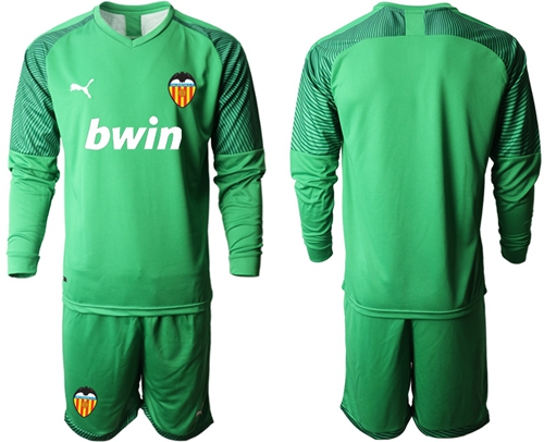 Valencia Blank Green Goalkeeper Long Sleeves Soccer Club Jersey