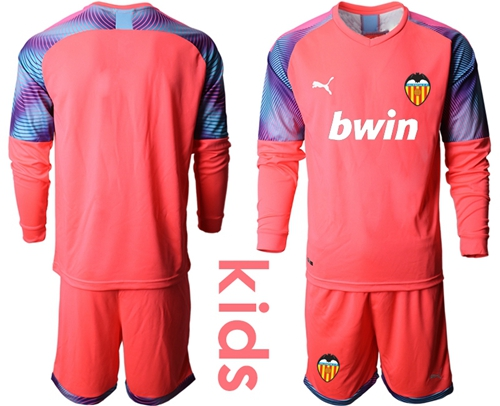 valencia Blank Red Goalkeeper Long Sleeves Kid Soccer Club Jersey