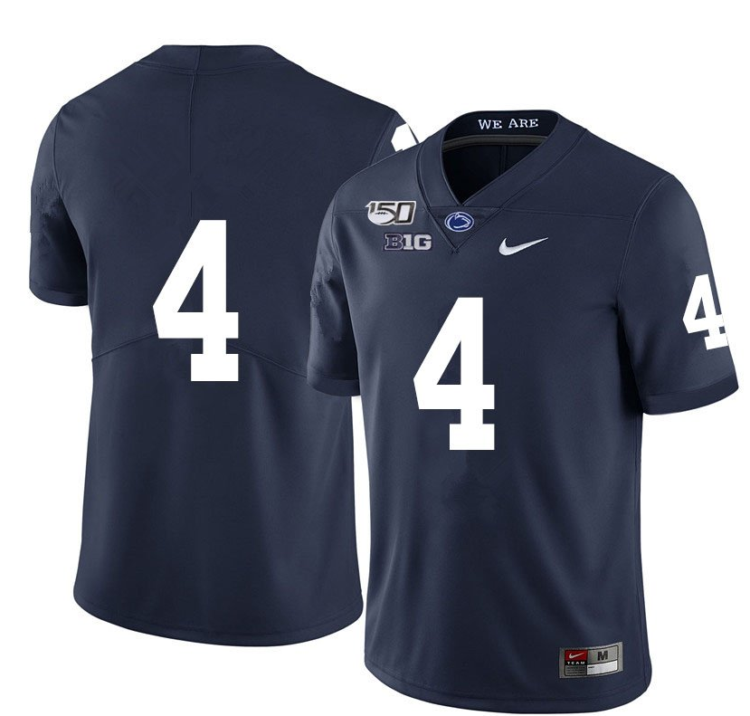 Men's Penn State Nittany Lions #4 Journey Brown 150th Anniversary Navy College Jerseys