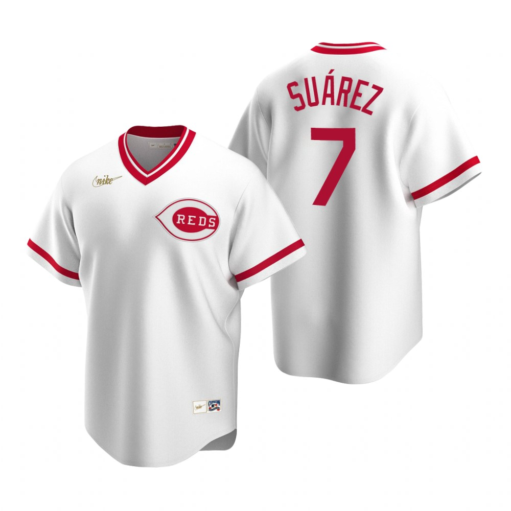 Men's Nike Cincinnati Reds #7 Eugenio Suarez White Cooperstown Collection Home Stitched Baseball Jersey