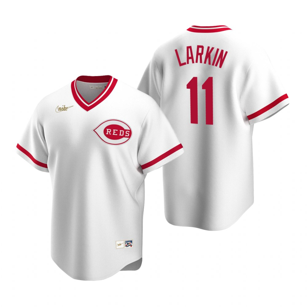 Men's Nike Cincinnati Reds #11 Barry Larkin White Cooperstown Collection Home Stitched Baseball Jersey