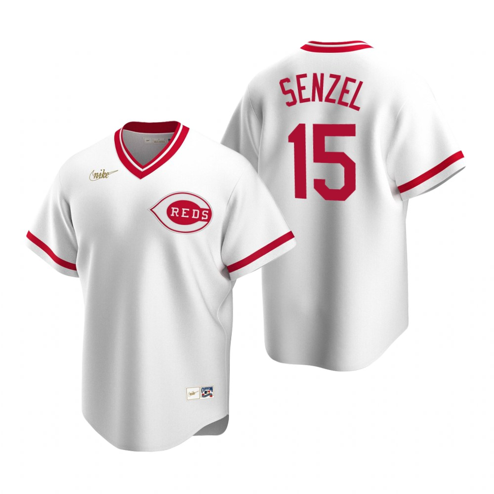 Men's Nike Cincinnati Reds #15 Nick Senzel White Cooperstown Collection Home Stitched Baseball Jersey