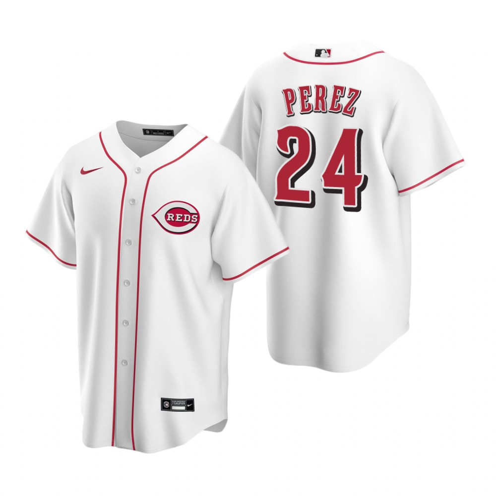 Men's Nike Cincinnati Reds #24 Tony Perez White Home Stitched Baseball Jersey