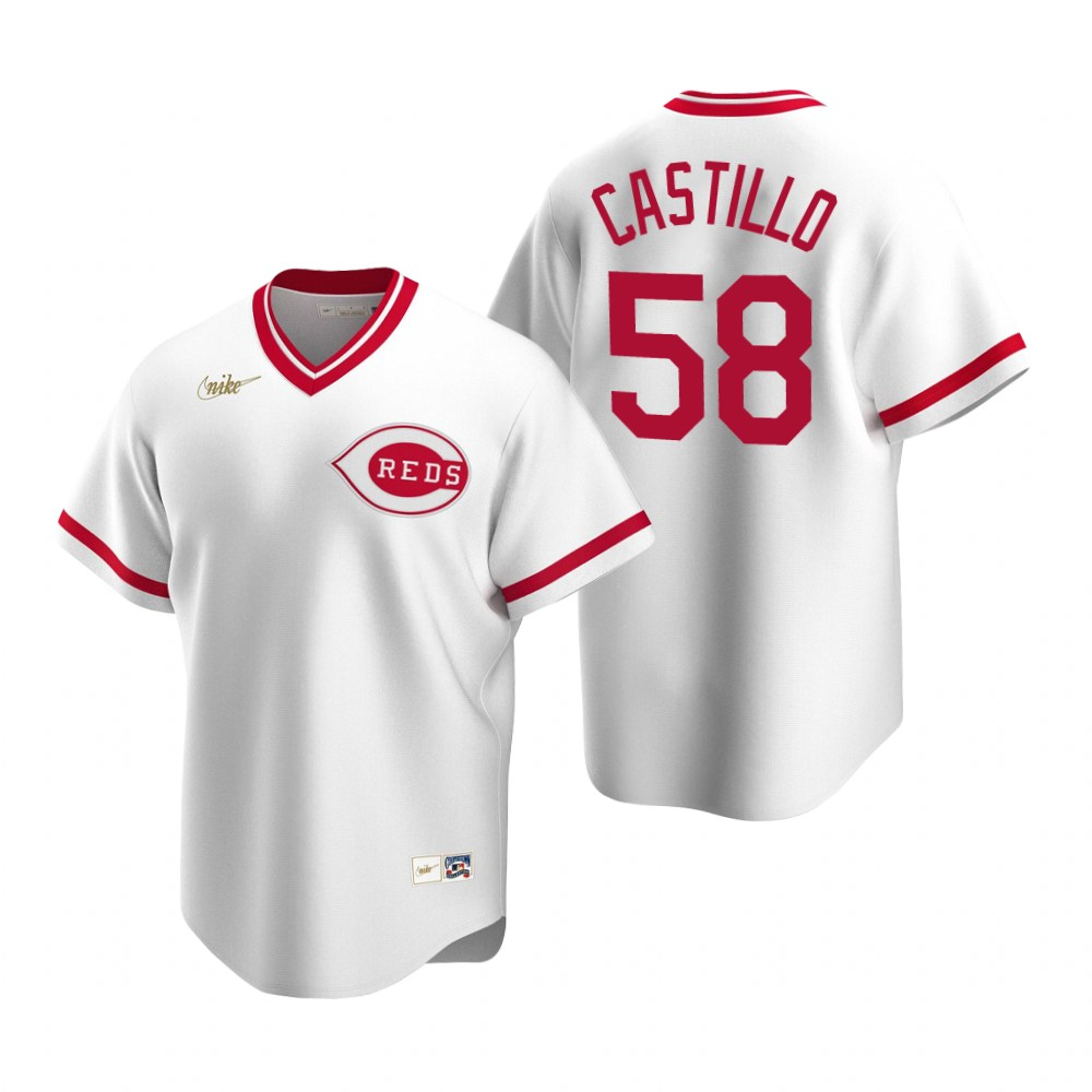 Men's Nike Cincinnati Reds #58 Luis Castillo White Cooperstown Collection Home Stitched Baseball Jersey