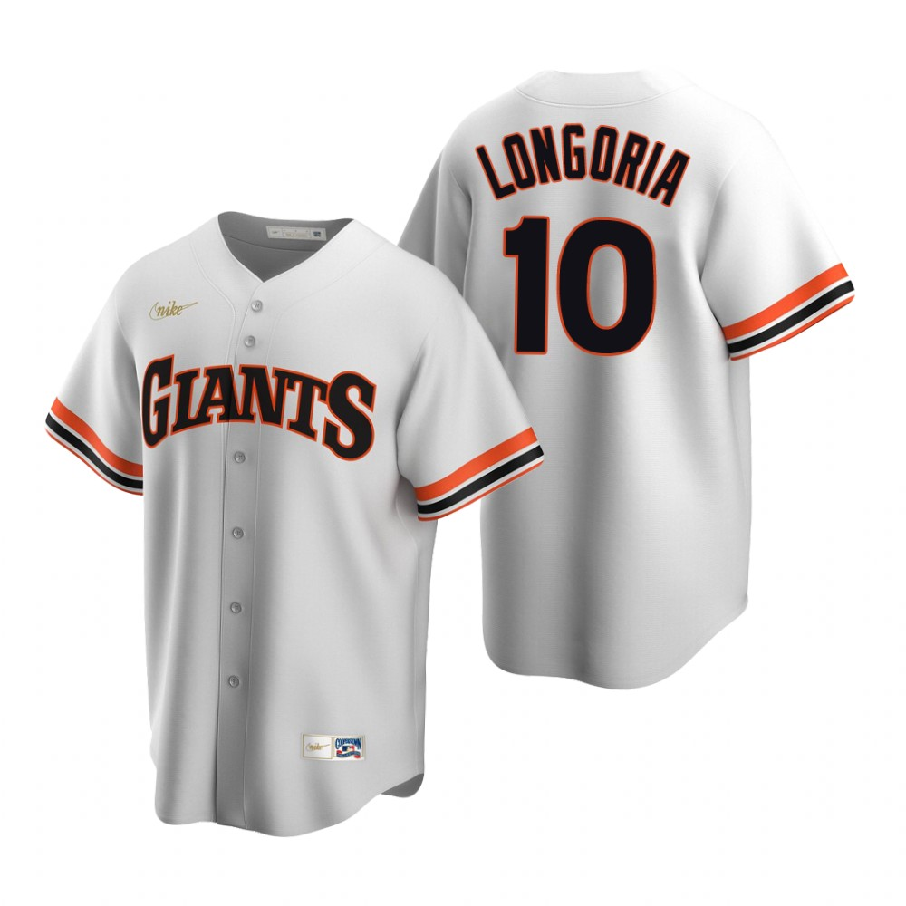 Men's Nike San Francisco Giants #10 Evan Longoria White Cooperstown Collection Home Stitched Baseball Jersey