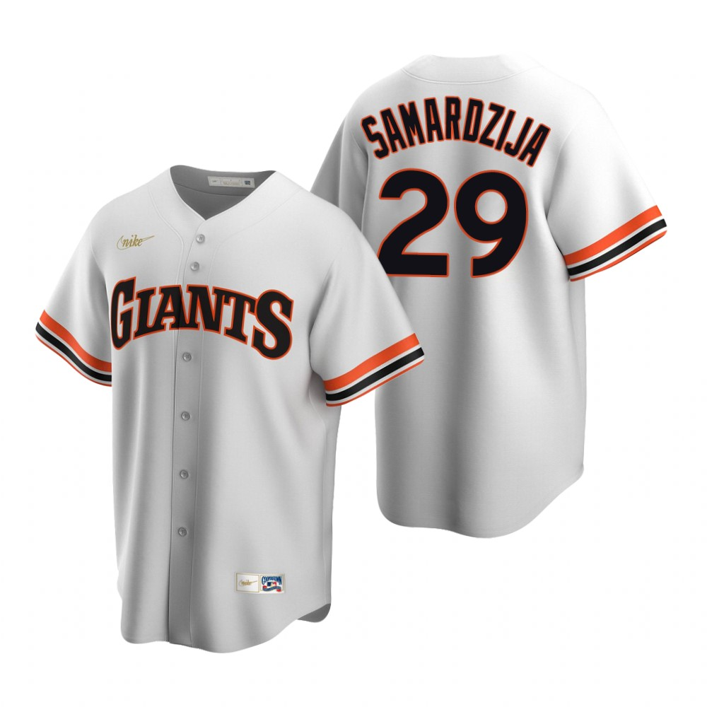 Men's Nike San Francisco Giants #29 Jeff Samardzija White Cooperstown Collection Home Stitched Baseball Jersey