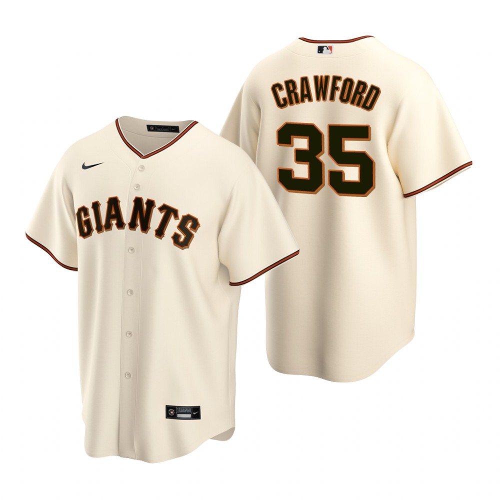 Men's Nike San Francisco Giants #35 Brandon Crawford Cream Home Stitched Baseball Jersey
