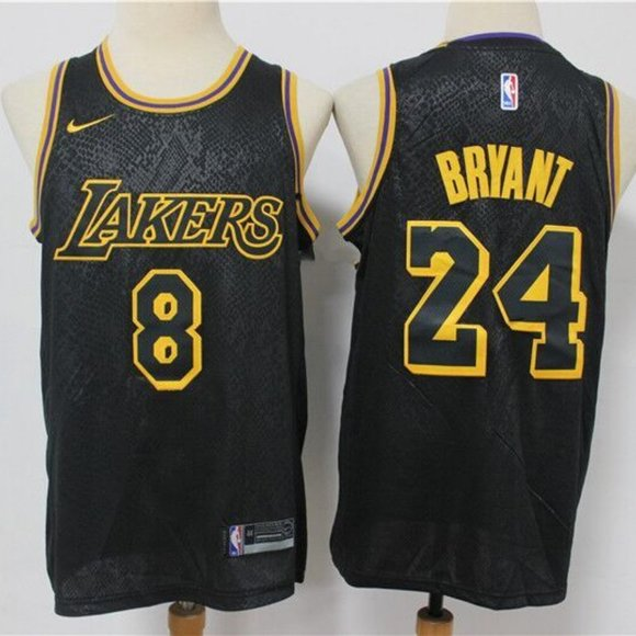 Los Angeles Lakers 8 24 Kobe Bryant Black Jersey