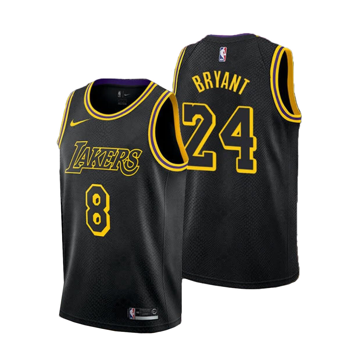 Men's Los Angeles Lakers #8 #24 Kobe Bryant Black Memba Edition Jersey