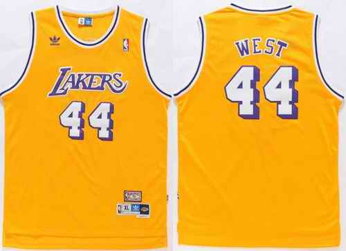 Lakers #44 Jerry West Gold Throwback Stitched NBA Jersey