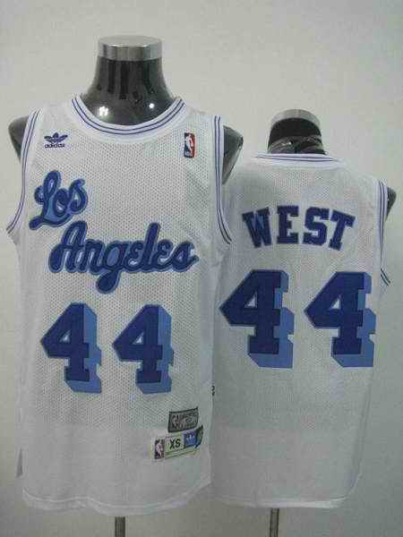 Mitchell and Ness Lakers #44 Jerry West Stitched White Throwback NBA Jersey