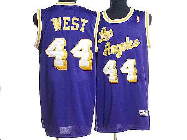 Mitchell and Ness Lakers #44 Jerry West Stitched Purple Throwback NBA Jersey
