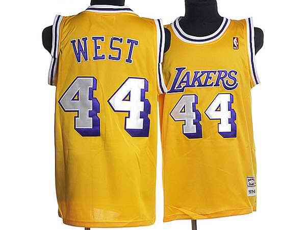 Mitchell and Ness Lakers #44 Jerry West Stitched Yellow Throwback NBA Jersey