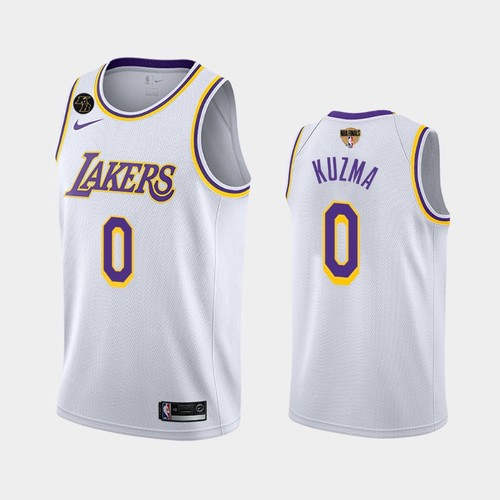 Men's Los Angeles Lakers #0 Kyle Kuzma White Kobe Forever 2020 Finals Jersey