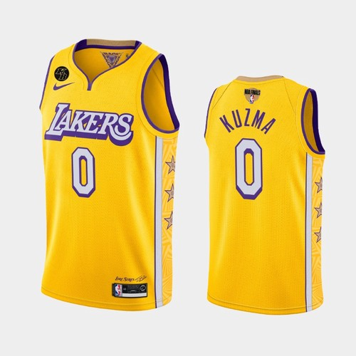 Men's Los Angeles Lakers #0 Kyle Kuzma Yellow City Kobe Forever 2020 Finals Jersey
