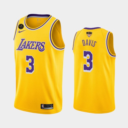 Men's Los Angeles Lakers #3 Anthony Davis Gold Icon Kobe Forever 2020 Finals Jersey