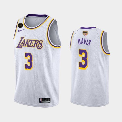 Men's Los Angeles Lakers #3 Anthony Davis White Kobe Forever 2020 Finals Jersey