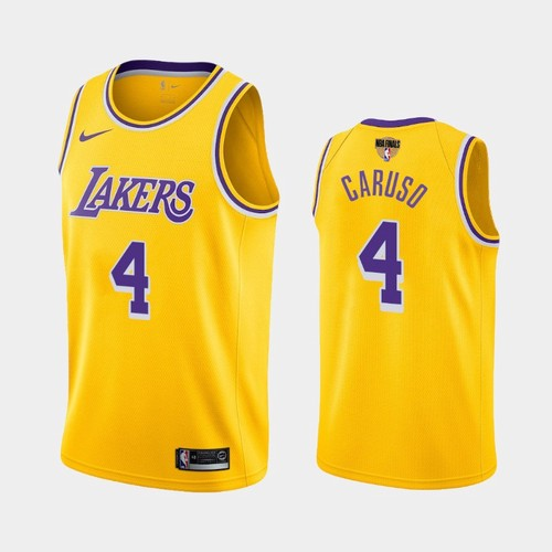 Men's Los Angeles Lakers #4 Alex Caruso Gold Icon 2020 Finals Jersey