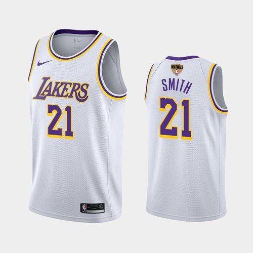 Men's Los Angeles Lakers #21 JR Smith White 2020 Finals Jersey