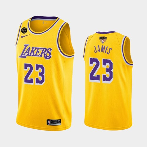 Men's Los Angeles Lakers #23 LeBron James Gold Icon Kobe Forever 2020 Finals Jersey