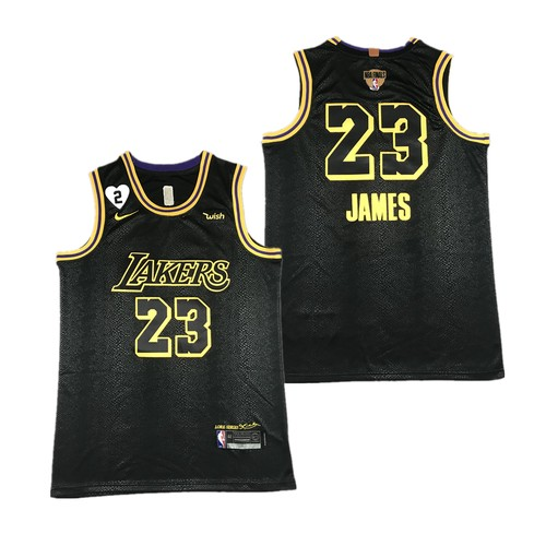Men's Los Angeles Lakers #23 LeBron James Black Gigi Tribute 2020 Finals Jersey