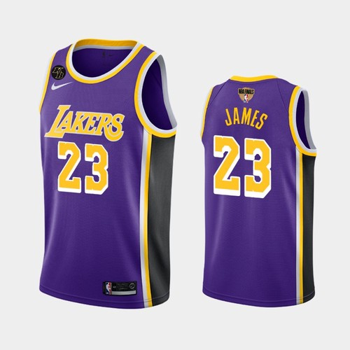 Men's Los Angeles Lakers #23 LeBron James Purple Kobe Forever 2020 Finals Jersey