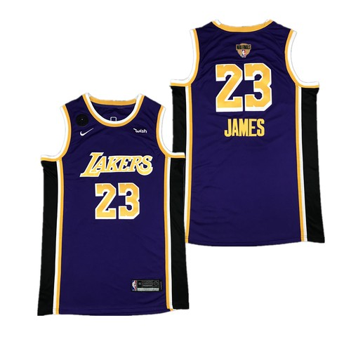Men's Los Angeles Lakers #23 LeBron James Purple 2020 Finals Jersey