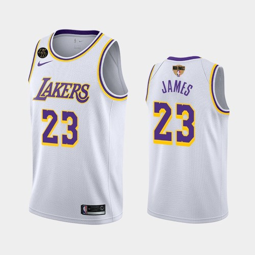 Men's Los Angeles Lakers #23 LeBron James White Kobe Forever 2020 Finals Jersey