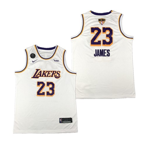 Men's Los Angeles Lakers #23 LeBron James White 2020 Finals Jersey