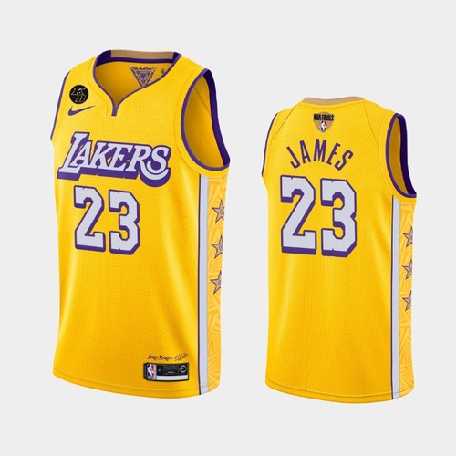 Men's Los Angeles Lakers #23 LeBron James Yellow City Kobe Forever 2020 Finals Jersey