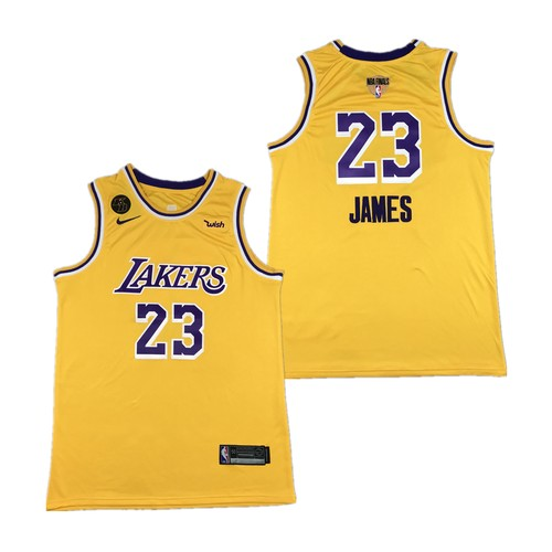Men's Los Angeles Lakers #23 LeBron James Yellow 2020 Finals Jersey