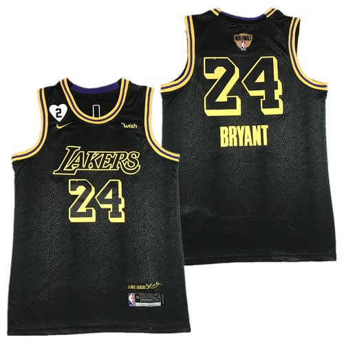 Men's Los Angeles Lakers #24 Kobe Bryant Black Gigi Tribute 2020 Finals Jersey