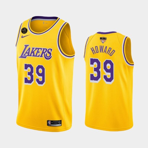 Men's Los Angeles Lakers #39 Dwight Howard Gold Icon Kobe Forever 2020 Finals Jersey