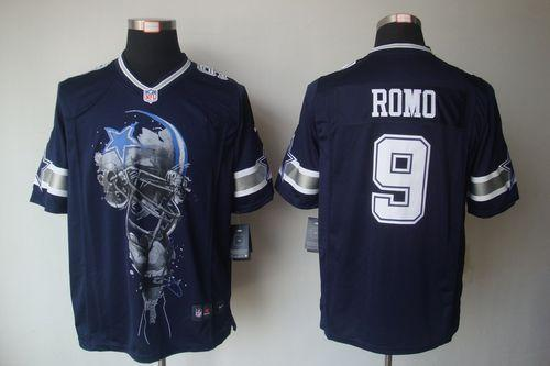 Men's Nike Dallas Cowboys #9 Tony Romo Navy Blue Team Color Stitched NFL Helmet Tri-Blend Limited Jersey