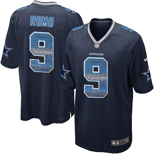 Men's Nike Dallas Cowboys #9 Tony Romo Navy Blue Team Color Stitched NFL Limited Strobe Jersey