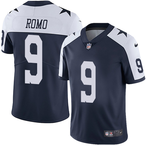 Men's Nike Dallas Cowboys #9 Tony Romo Navy Blue Thanksgiving Stitched NFL Vapor Untouchable Limited Throwback Jersey