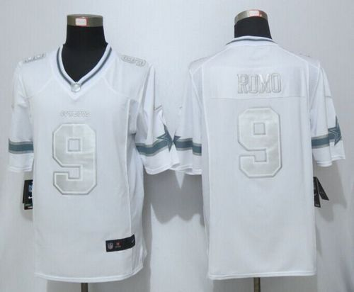 Men's Nike Dallas Cowboys #9 Tony Romo White Stitched NFL Limited Platinum Jersey
