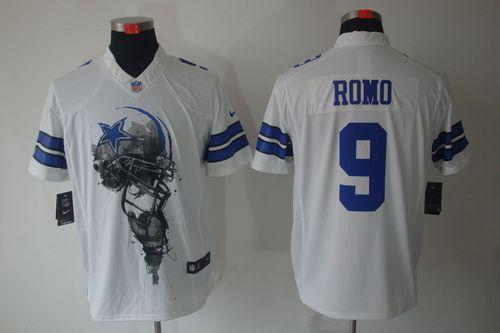Men's Nike Dallas Cowboys #9 Tony Romo White Stitched NFL Helmet Tri-Blend Limited Jersey