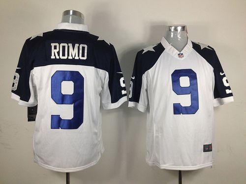 Men's Nike Dallas Cowboys #9 Tony Romo White Thanksgiving Throwback Stitched NFL Limited Jersey