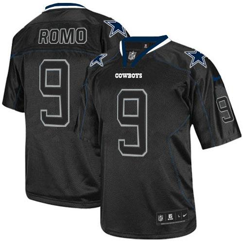 Men's Nike Dallas Cowboys #9 Tony Romo Lights Out Black Stitched NFL Elite Jersey